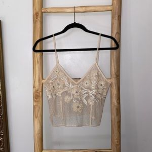 ZARA Embroidered Mesh Camisole